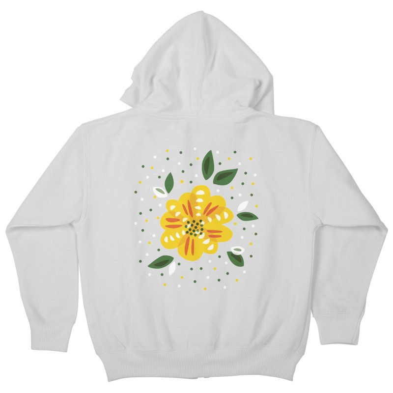 Abstract Yellow Primrose Flower Kids Zip-Up Hoody by Boriana's Artist Shop