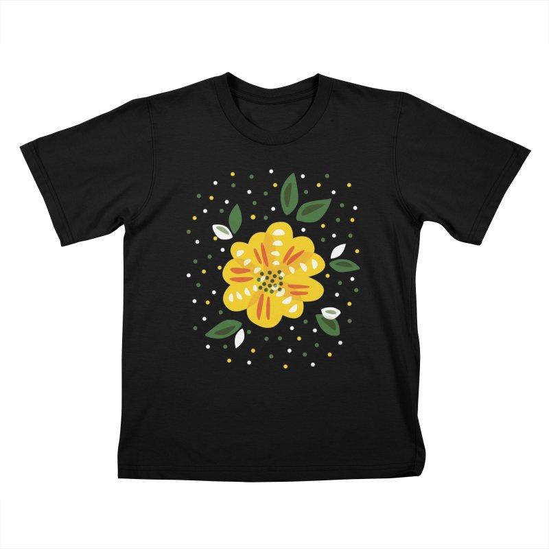 Abstract Yellow Primrose Flower Kids T-Shirt by Boriana's Artist Shop