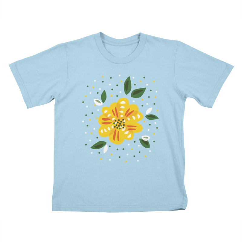 Abstract Yellow Primrose Flower Kids T-Shirt by Boriana's Artist Shop