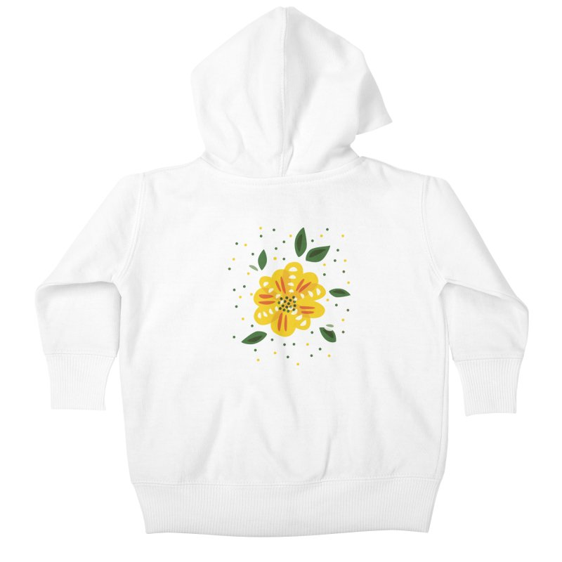 Abstract Yellow Primrose Flower Kids Baby Zip-Up Hoody by Boriana's Artist Shop