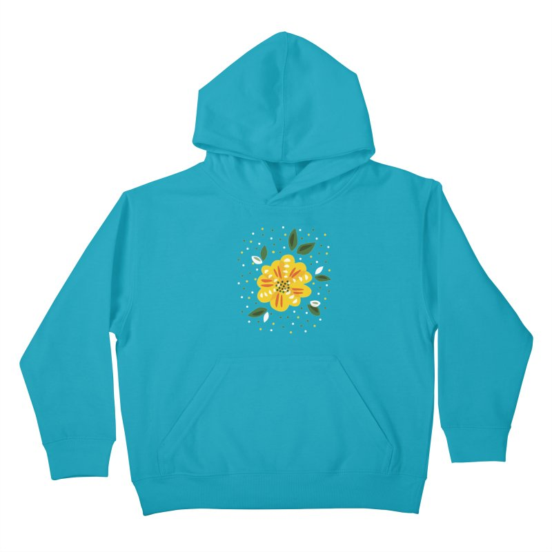 Abstract Yellow Primrose Flower Kids Pullover Hoody by Boriana's Artist Shop