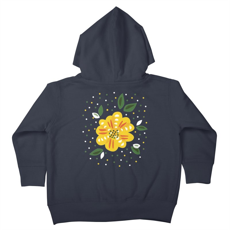 Abstract Yellow Primrose Flower Kids Toddler Zip-Up Hoody by Boriana's Artist Shop