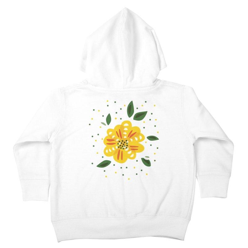 Abstract Yellow Primrose Flower Kids Toddler Zip-Up Hoody by Boriana's Artist Shop