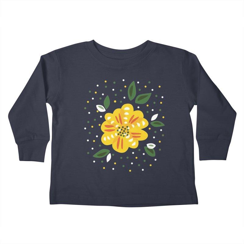Abstract Yellow Primrose Flower Kids Toddler Longsleeve T-Shirt by Boriana's Artist Shop