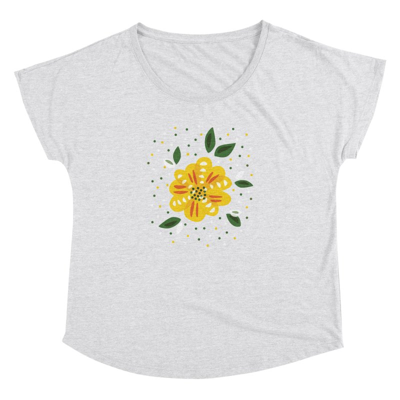 Abstract Yellow Primrose Flower Women's Dolman Scoop Neck by Boriana's Artist Shop