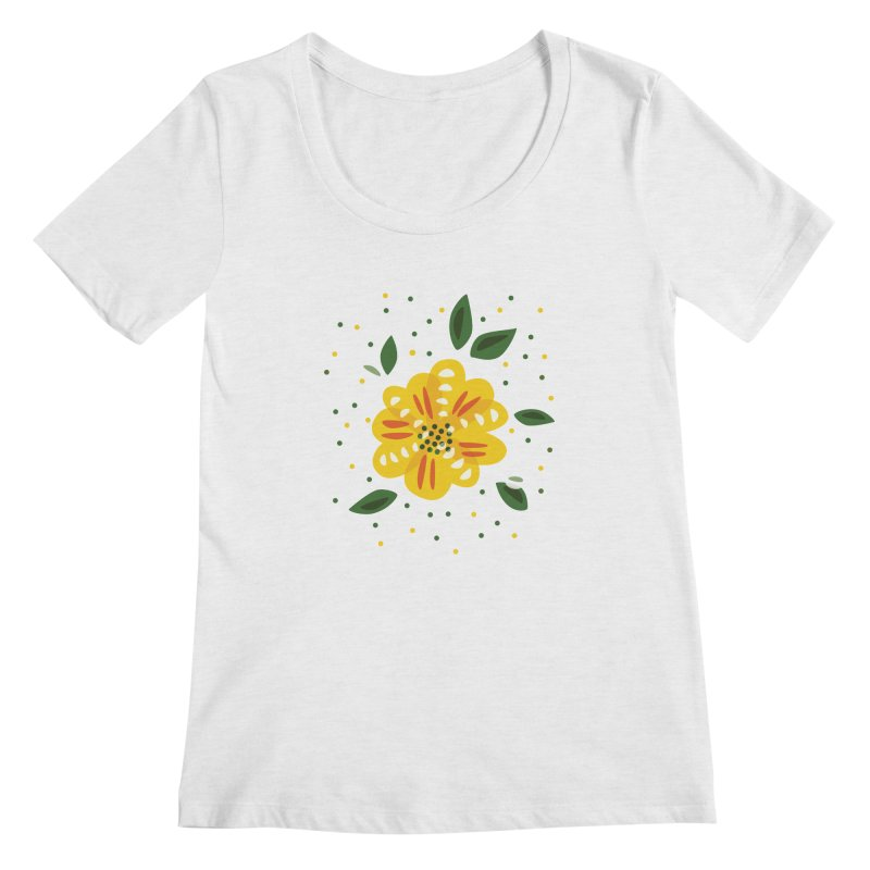 Abstract Yellow Primrose Flower Women's Scoop Neck by Boriana's Artist Shop