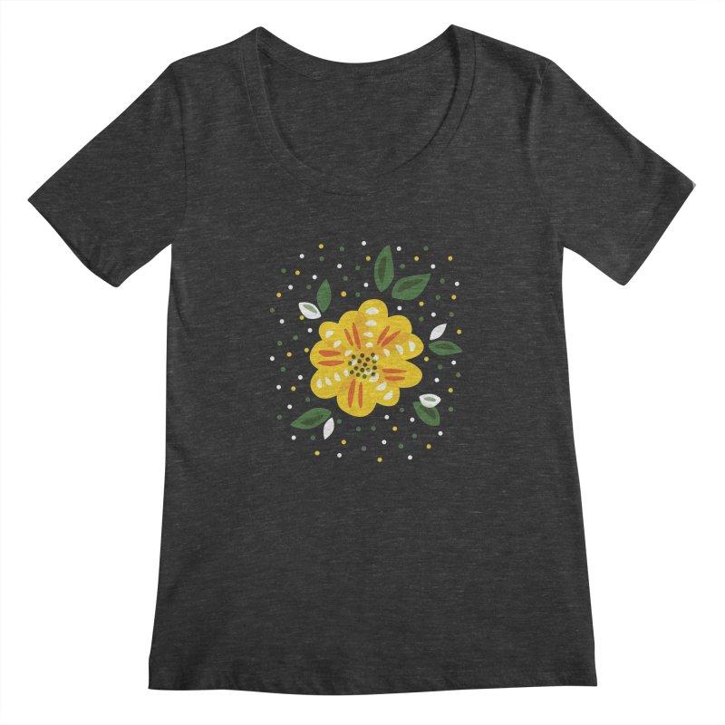 Abstract Yellow Primrose Flower Women's Scoopneck by Boriana's Artist Shop