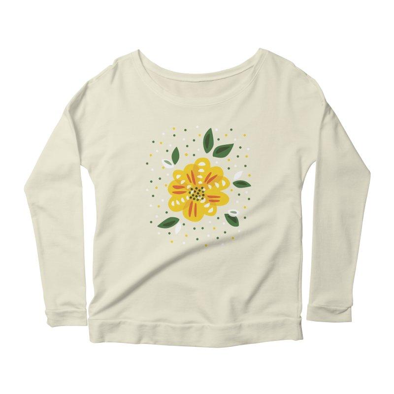 Abstract Yellow Primrose Flower Women's Scoop Neck Longsleeve T-Shirt by Boriana's Artist Shop