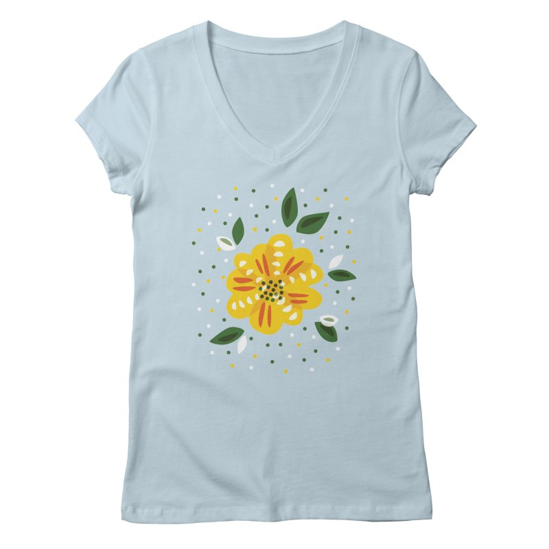 Abstract Yellow Primrose Flower Women's Regular V-Neck by Boriana's Artist Shop