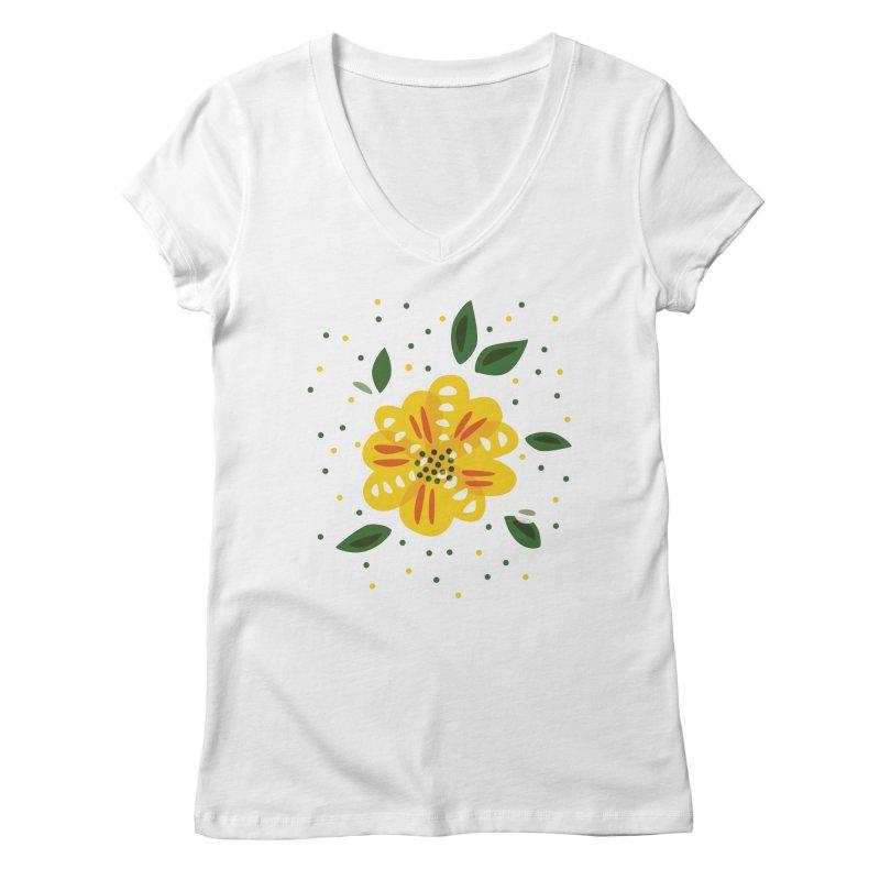 Abstract Yellow Primrose Flower Women's Regular V-Neck by Boriana's Artist Shop