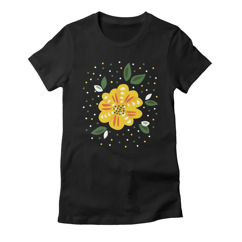 Abstract Yellow Primrose Flower in Women's Fitted T-Shirt Black by Boriana's Artist Shop