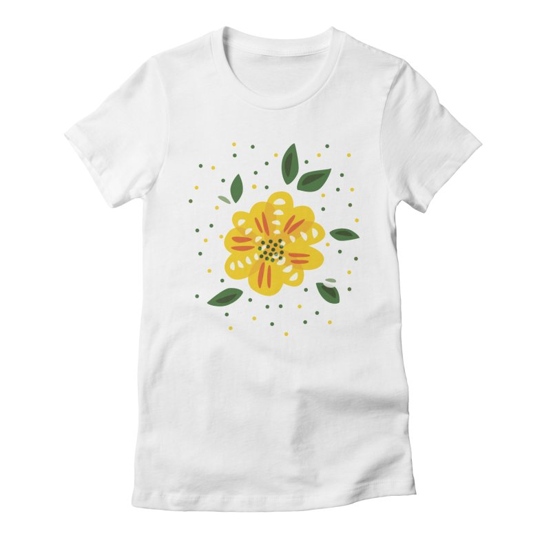 Abstract Yellow Primrose Flower Women's Fitted T-Shirt by Boriana's Artist Shop