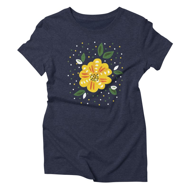 Abstract Yellow Primrose Flower Women's Triblend T-Shirt by Boriana's Artist Shop
