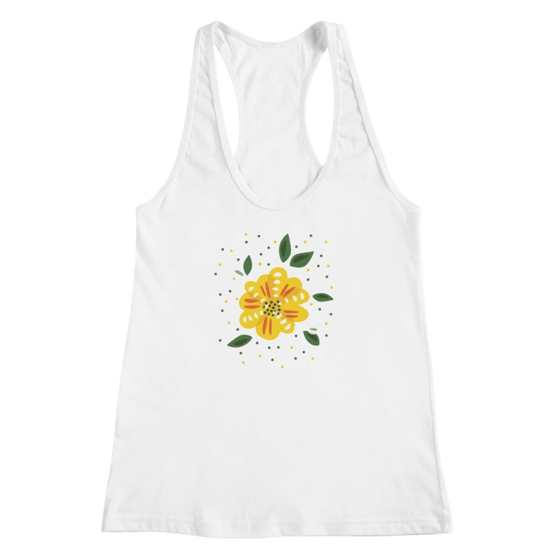 Abstract Yellow Primrose Flower Women's Racerback Tank by Boriana's Artist Shop