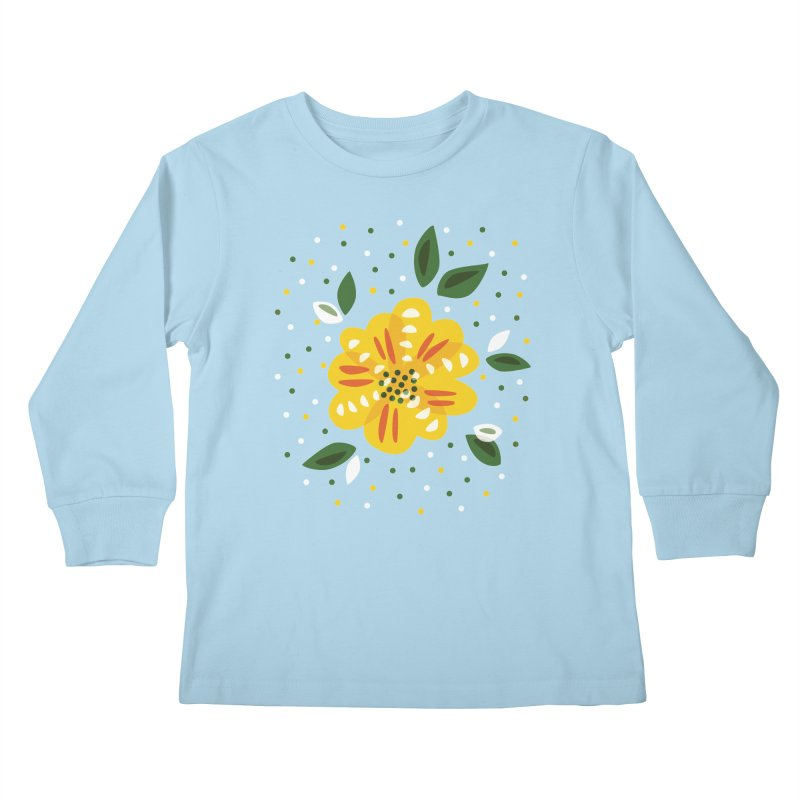 Abstract Yellow Primrose Flower Kids Longsleeve T-Shirt by Boriana's Artist Shop