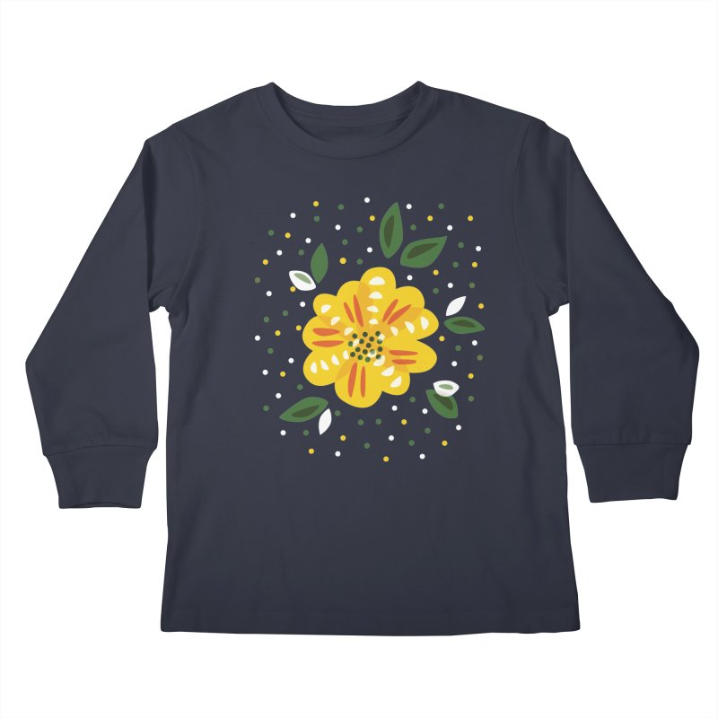 Abstract Yellow Primrose Flower Kids Longsleeve T-Shirt by Boriana's Artist Shop