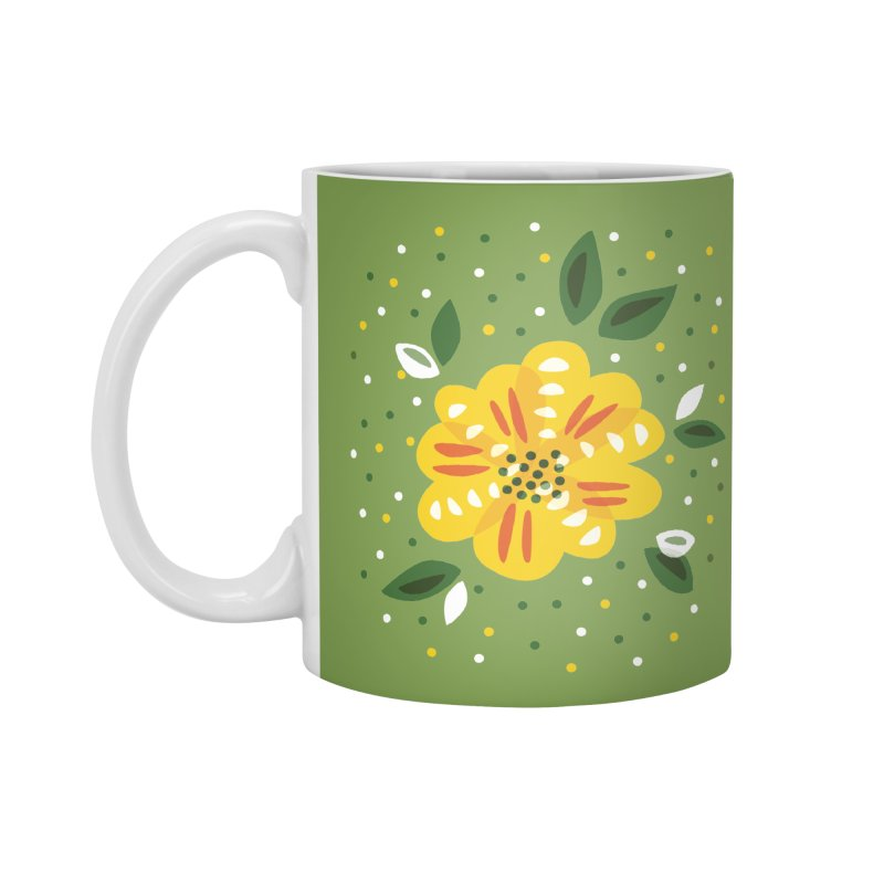 Abstract Yellow Primrose Flower Accessories Mug by Boriana's Artist Shop