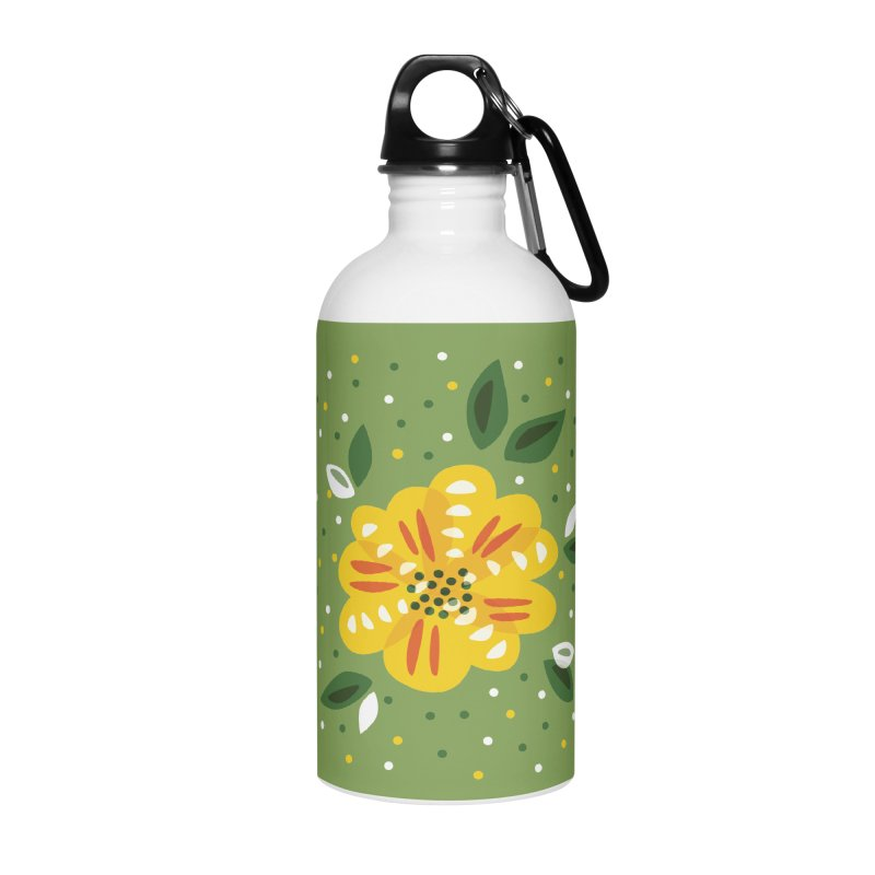 Abstract Yellow Primrose Flower Accessories Water Bottle by Boriana's Artist Shop
