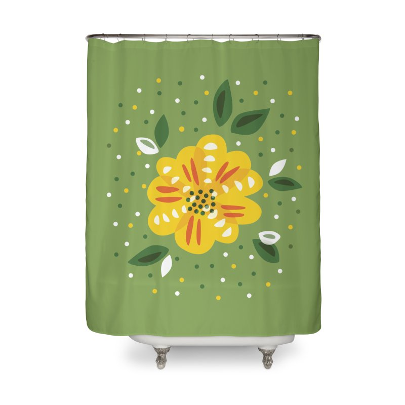 Abstract Yellow Primrose Flower Home Shower Curtain by Boriana's Artist Shop