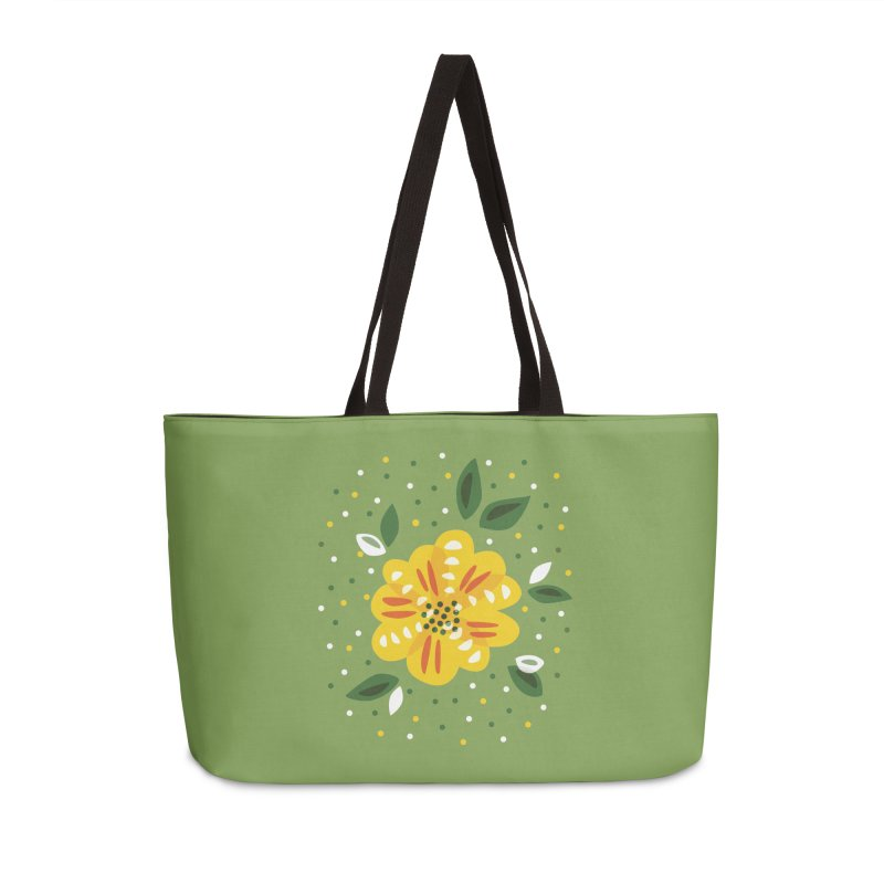 Abstract Yellow Primrose Flower Accessories Weekender Bag Bag by Boriana's Artist Shop