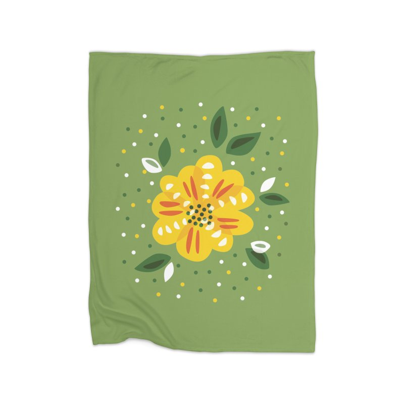 Abstract Yellow Primrose Flower Home Blanket by Boriana's Artist Shop