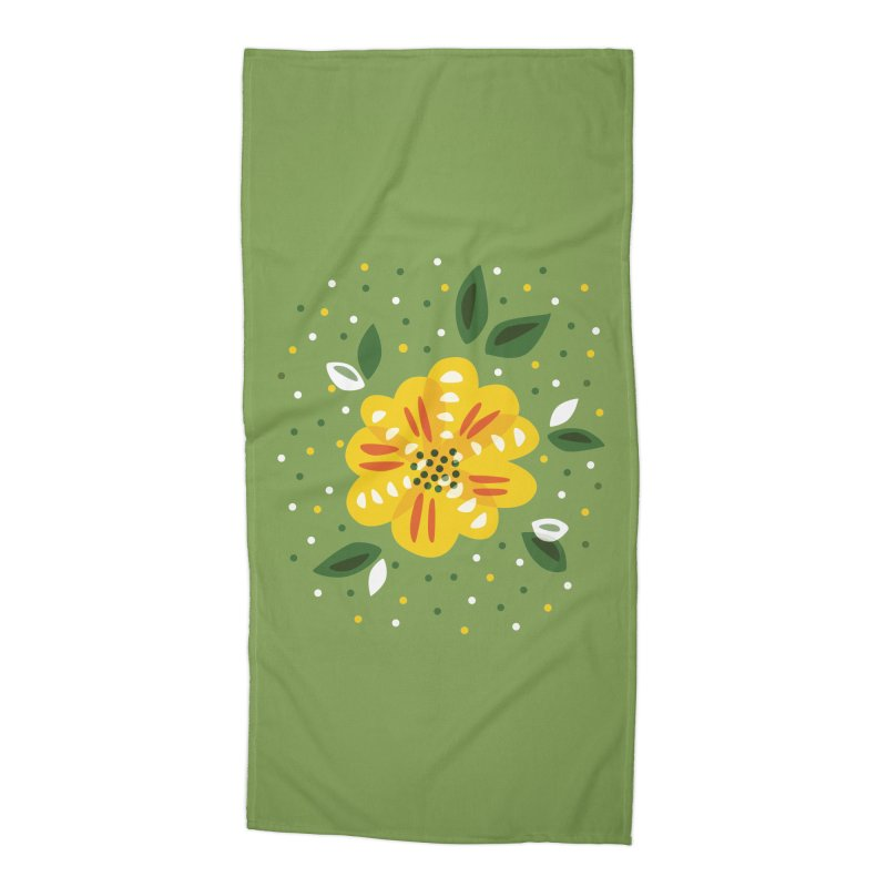 Abstract Yellow Primrose Flower Accessories Beach Towel by Boriana's Artist Shop