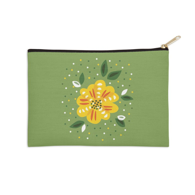 Abstract Yellow Primrose Flower Accessories Zip Pouch by Boriana's Artist Shop