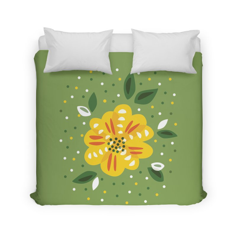 Abstract Yellow Primrose Flower Home Duvet by Boriana's Artist Shop