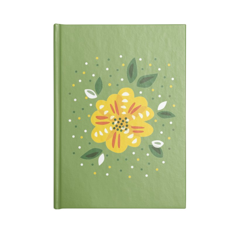 Abstract Yellow Primrose Flower Accessories Lined Journal Notebook by Boriana's Artist Shop