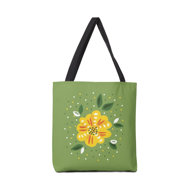 Abstract Yellow Primrose Flower Accessories Tote Bag Bag by Boriana's Artist Shop