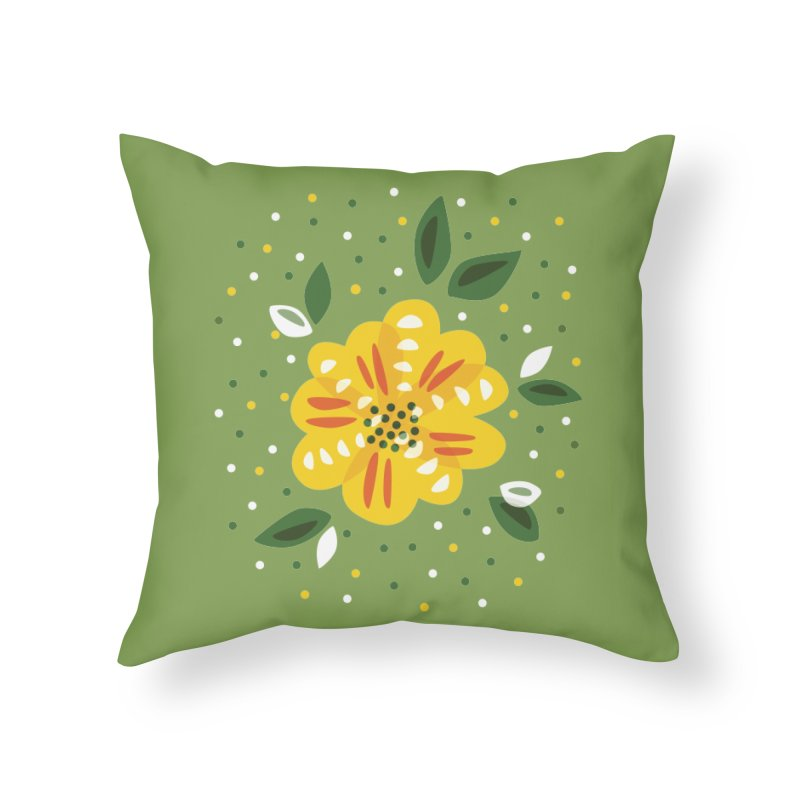 Abstract Yellow Primrose Flower Home Throw Pillow by Boriana's Artist Shop