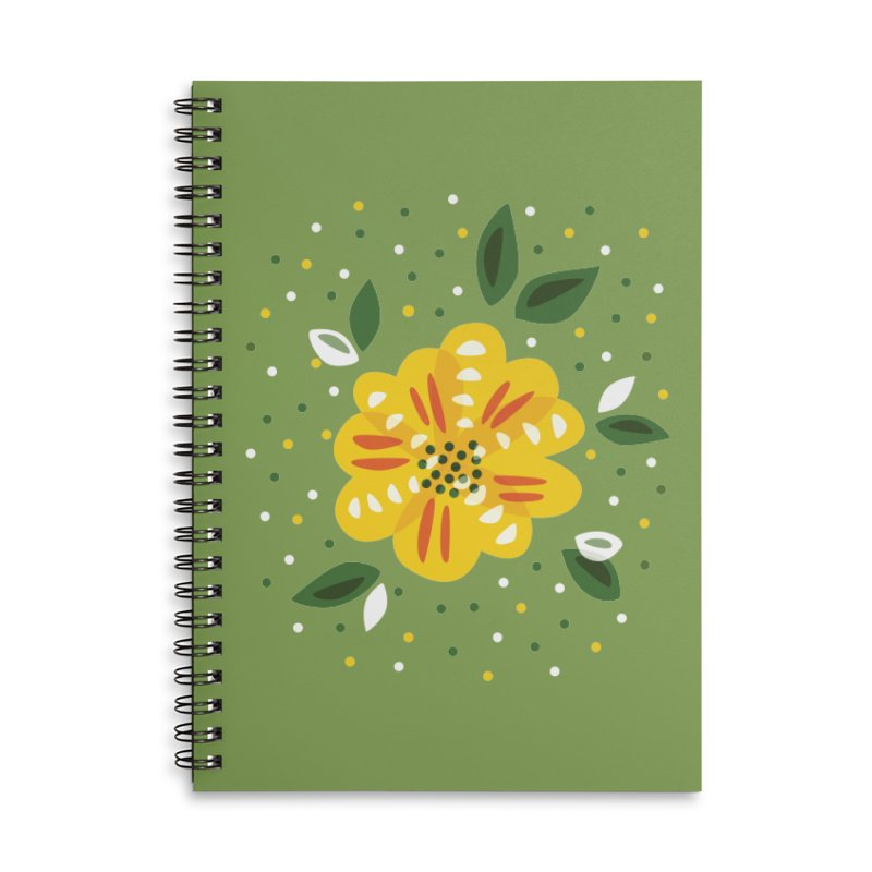 Abstract Yellow Primrose Flower Accessories Lined Spiral Notebook by Boriana's Artist Shop