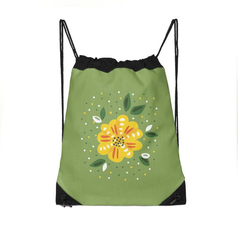 Abstract Yellow Primrose Flower Accessories Drawstring Bag Bag by Boriana's Artist Shop