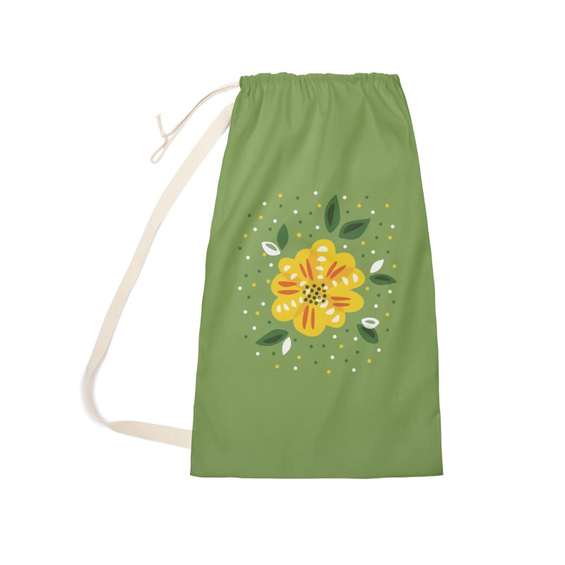 Abstract Yellow Primrose Flower Accessories Laundry Bag Bag by Boriana's Artist Shop