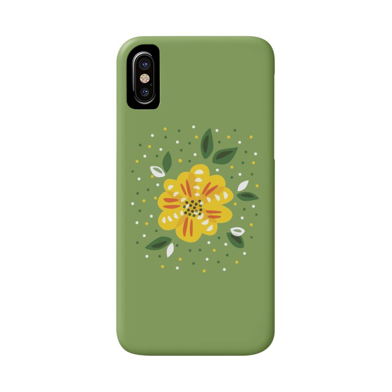 Abstract Yellow Primrose Flower Accessories Phone Case by Boriana's Artist Shop