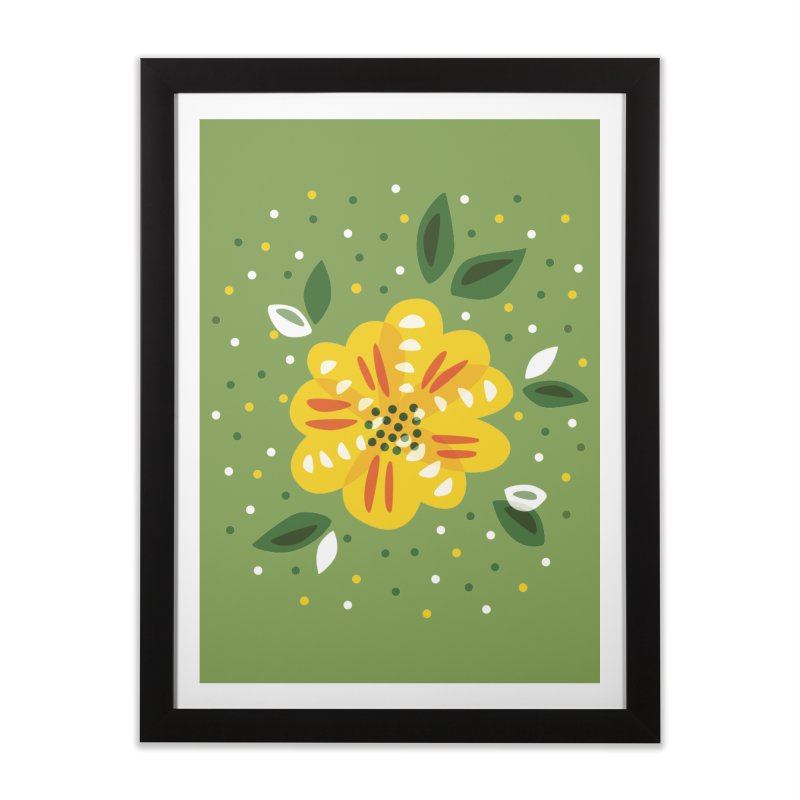 Abstract Yellow Primrose Flower Home Framed Fine Art Print by Boriana's Artist Shop