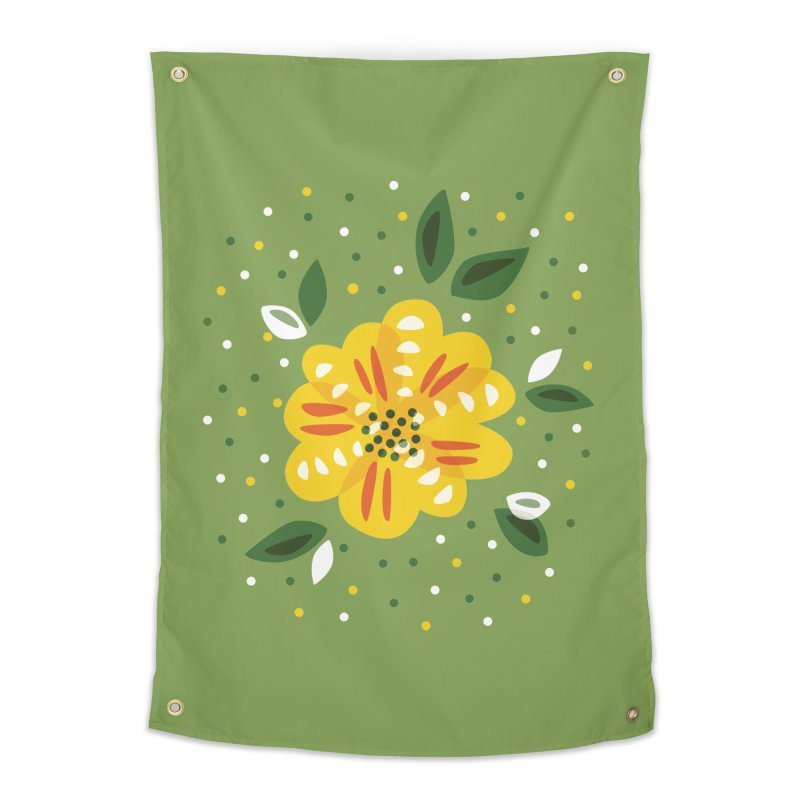 Abstract Yellow Primrose Flower Home Tapestry by Boriana's Artist Shop
