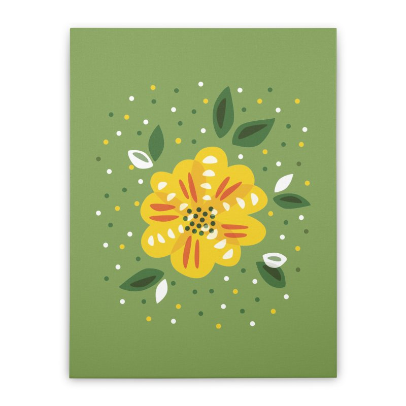 Abstract Yellow Primrose Flower Home Stretched Canvas by Boriana's Artist Shop