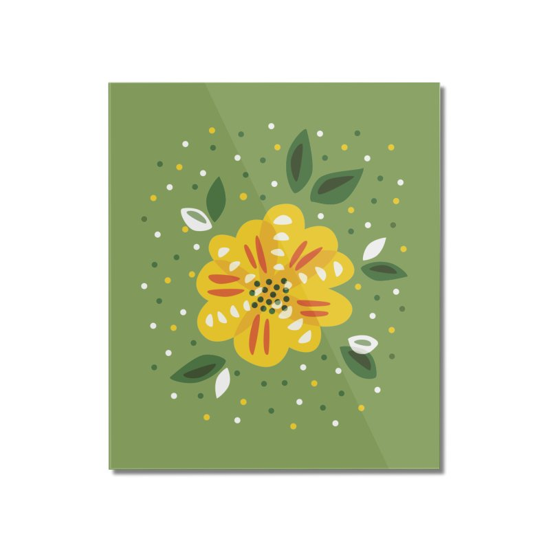 Abstract Yellow Primrose Flower Home Mounted Acrylic Print by Boriana's Artist Shop