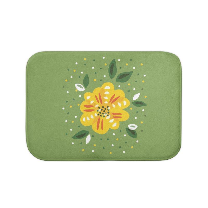 Abstract Yellow Primrose Flower Home Bath Mat by Boriana's Artist Shop
