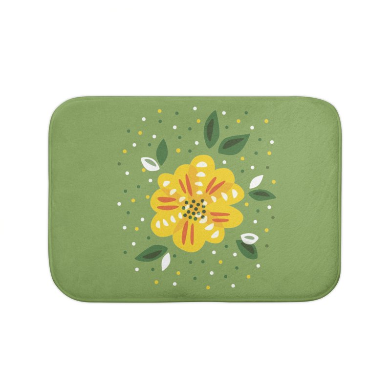 Abstract Yellow Primrose Flower Home Bath Mat by Boriana's Artist Shop
