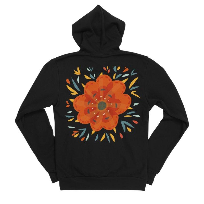 Decorative Orange Flower Women's Sponge Fleece Zip-Up Hoody by Boriana's Artist Shop