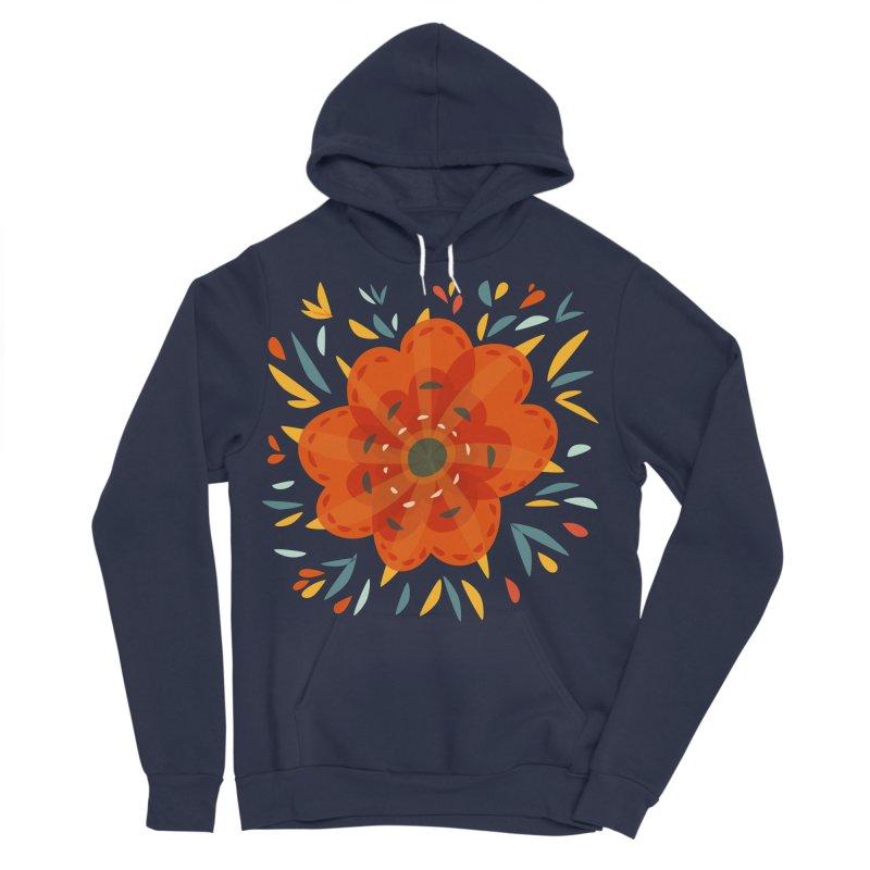 Decorative Orange Flower Men's Sponge Fleece Pullover Hoody by Boriana's Artist Shop