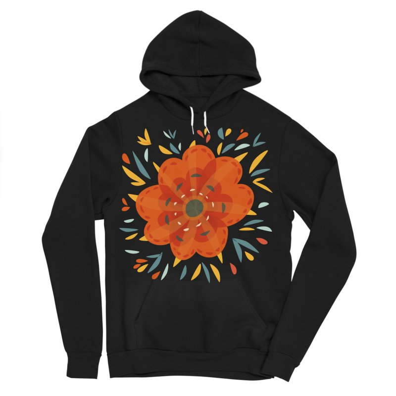 Decorative Orange Flower Men's Sponge Fleece Pullover Hoody by Boriana's Artist Shop