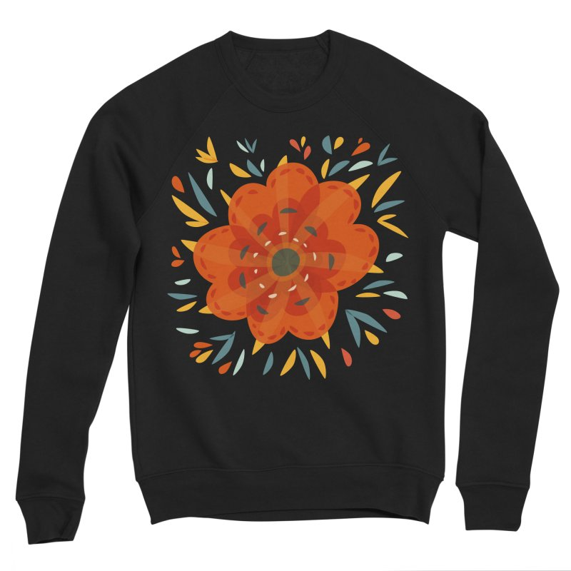 Decorative Orange Flower Women's Sponge Fleece Sweatshirt by Boriana's Artist Shop