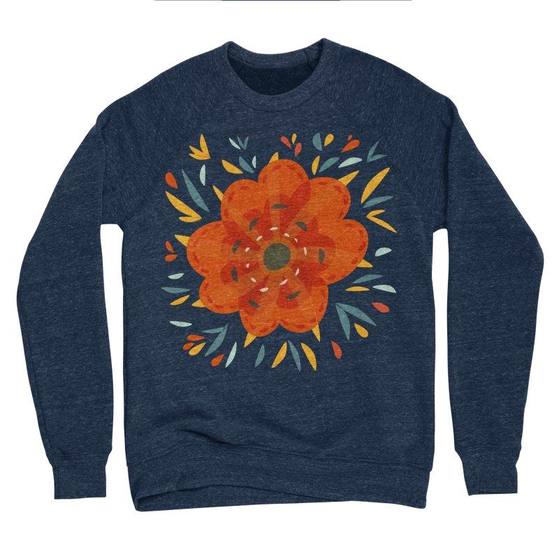 Decorative Orange Flower Men's Sponge Fleece Sweatshirt by Boriana's Artist Shop