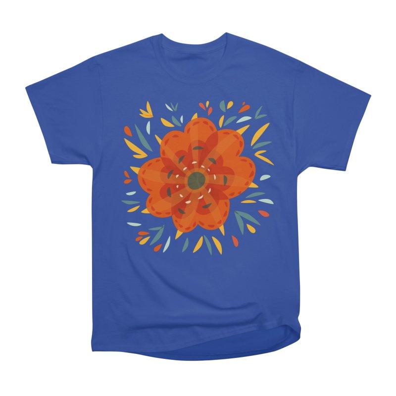 Decorative Orange Flower Men's Heavyweight T-Shirt by Boriana's Artist Shop