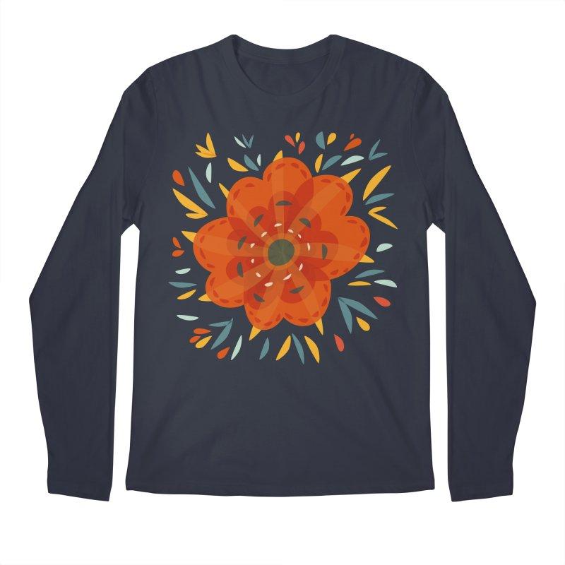 Decorative Orange Flower Men's Longsleeve T-Shirt by Boriana's Artist Shop