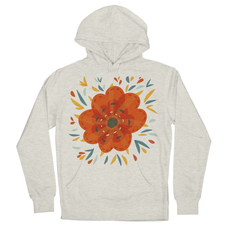 Decorative Orange Flower Women's French Terry Pullover Hoody by Boriana's Artist Shop