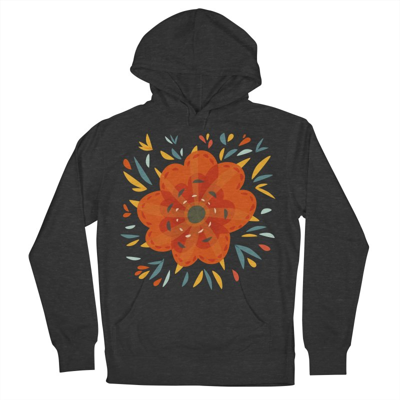 Decorative Orange Flower Men's French Terry Pullover Hoody by Boriana's Artist Shop